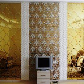 Фацетное зеркало «под золото» с мозаикой из камня и керамики