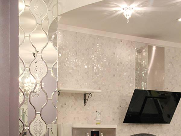 Фацетные зеркала в оформлении кухни, Архистиль, Бишкек