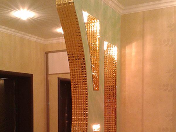 Декоративная стенка с отделкой граненой мозаикой, Архистиль, Бишкек