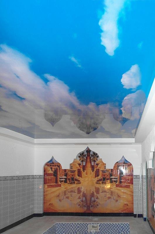 Натяжной потолок небесного цвета, Архистиль, Бишкек