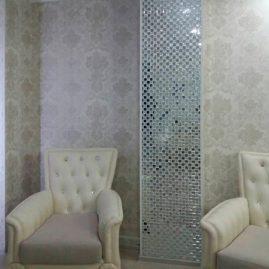 Мозаичный декор. Оформление колонны в гостиной