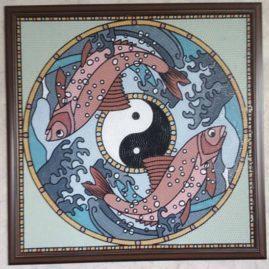 Мозаичное панно «Рыбы Инь Янь»